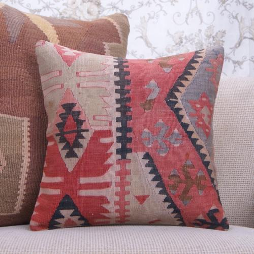 "Oriental Turkish Kilim Pillow 16x16"" Antique Old Handmade Rug Cushion"