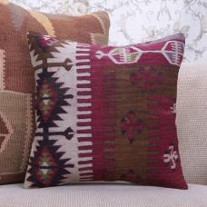 "Rustic Decor Art Handmade Kilim Pillow 16x16"" Geometric Rug Cushion"