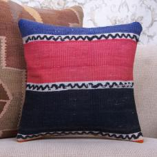 "Rustic Handmade Rug Pillow 16"" Pink & Black Kilim Throw Pillow Cover"
