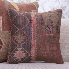 Southwestern Decorative Kilim Pillow 16x16 Vintage Handmade Rug Cushion