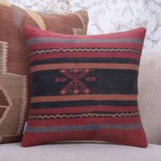 "Striped Anatolian Kilim Pillowcase 16"" Vintage Turkish Rug Throw Pillow"