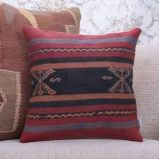 Tribal Anatolian Kilim Pillowcase 16x16 Handmade Vintage Turkish Pillow
