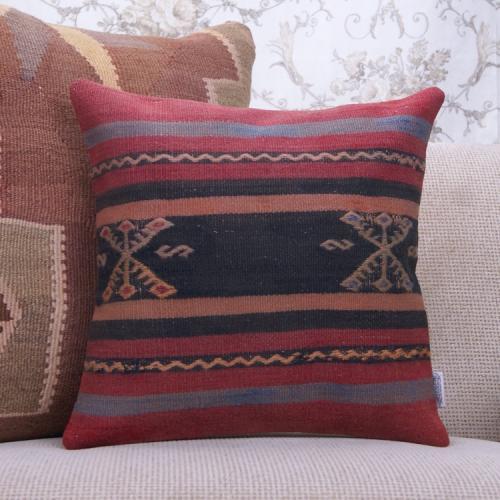 Tribal Anatolian Kilim Pillowcase 16x16 Handmade Vintage Turkish Pillow