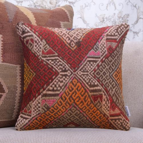 "Vintage Embroidered Decor Pillow 16x16"" Anatolian Square Kilim Cushion"