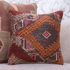 "Vintage Embroidered Kilim Pillowcase 16x16"" Rustic Decor Throw Pillow"