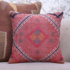 "Vintage Pink Kilim Pillowcase 16x16"" Embroidered Interior Decor Throw"