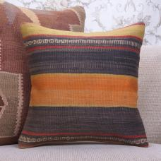 "Vintage Striped Kilim Rug Pillow 16x16"" Decorative Turkish Rug Throw"