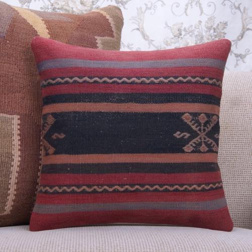 "Vintage Turkish Kilim Pillow 16"" Striped Anatolian Handmade Rug Cushion"