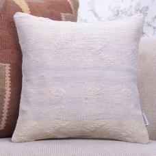 """White Cottage Decor Throw Pillow 16x16"""" Embroidered Turkish Kilim Throw"""