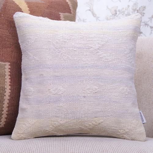 "White Cottage Decor Throw Pillow 16x16"" Embroidered Turkish Kilim Throw"