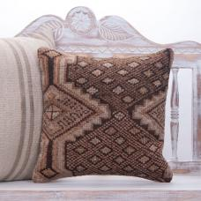 Brown Vintage Handmade Rug Pillow Square Ethnic Decorative Sofa Throw