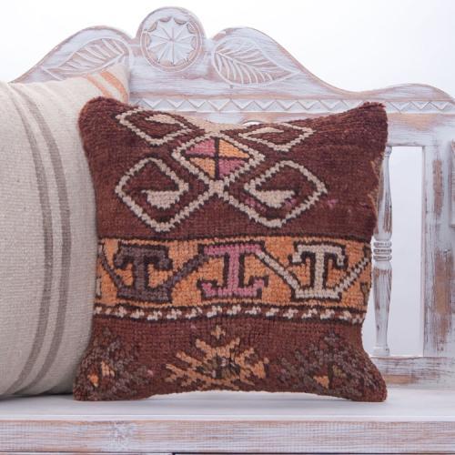 "Ethnic Anatolian Rug Pillow Soft Handmade 16"" Home Decor Throw Cushion"