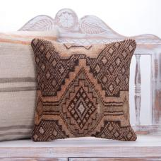 Faded Brown Rug Throw Pillow Orange Vintage Turkish Handmade Cushion