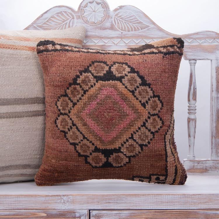 Retro Interior Decor Rug Pillow 16 Vintage Turkish Handmade Sofa Throw