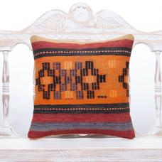 Anatolian Design Kilim Pillow Colorful 16x16 Orange Vintage Rug Cushion