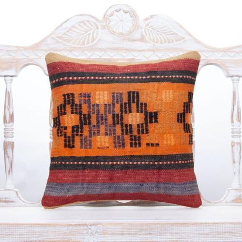 Anatolian Design Kilim Pillow Colorful 16x16 Orange Vintage Rug Cushion