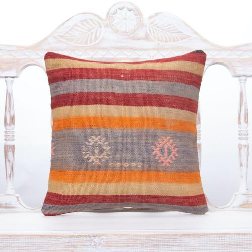 """Anatolian Kilim Throw Pillow Colorful 16x16"""" Square Striped Sofa Throw"""