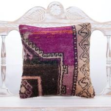 "Anatolian Vintage Turkish Rug Pillow 16x16"" Tribal Decorative Cushion"