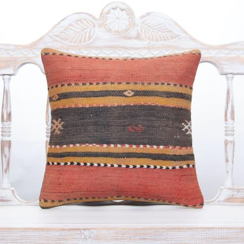 "Antique Anatolian Kilim Cushion 16x16"" Tribal Handmade Old Rug Pillow"