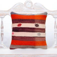 Antique Decorative Striped Pillow Throw Handmade Turkish Rug Cushion