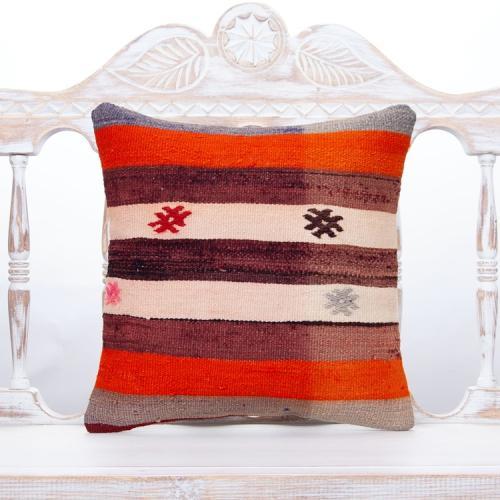 Antique Decorative Striped Pillow Throw Handmade Turkish Rug Cushion