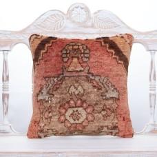 "Antique Oriental Rug Pillow 16x16"" Anatolian Decorative Turkish Cushion"