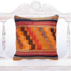 "Antique Tribal Anatolian Kilim Pillow 16x16"" Orange Embroidered Cushion"