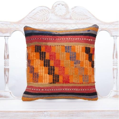 "Antique Tribal Anatolian Kilim Pillow 16x16"" Orange Embroidered Cushion"