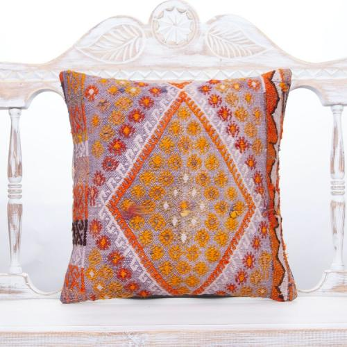 Bohemian Cottage Colorful Kilim Pillow Embroidered Square Sofa Throw