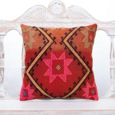 "Bohemian Decor Accent Pillow 16x16"" Pinky Embroidered Kilim Rug Throw"
