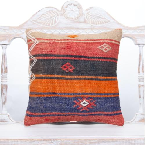 "Boho Decor Throw Pillow 16x16"" Retro Interior Accent Kilim Pillowcase"
