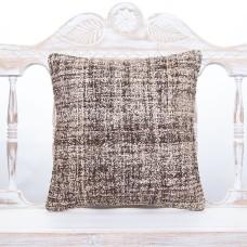 "Burlap Gray Kilim Cushion 16x16"" Square Modern Decor Rug Throw Pillow"