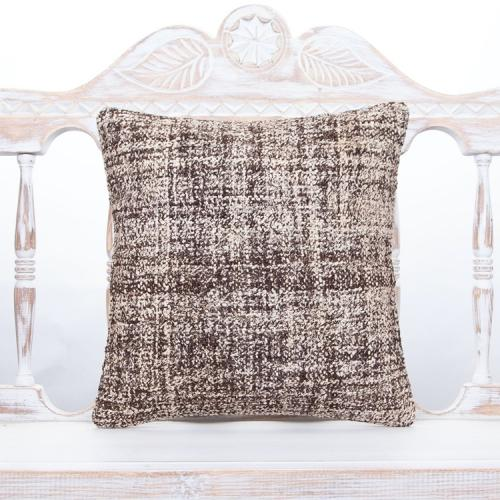 "Burlap Gray Kilim Cushion 16x16"" Square Modern Decor Rug Throw Pillow"