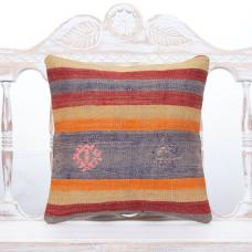 "Colorful Boho Decor Throw Pillow 16"" Square Striped Kilim Cushion Cover"