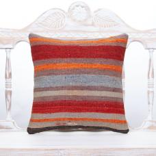 "Colorful Handmade Turkish Kilim Pillow 16"" Striped Vintage Sofa Cushion"