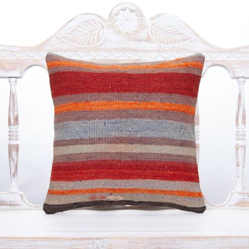 "Colorful Handmade Turkish Kilim Pillow 16"" Striped Vintage Sofa Cushion"