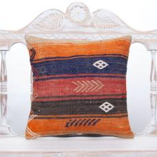 "Cottage Anatolian Colorful Kilim Pillow 16"" Striped Sofa Decor Throw"