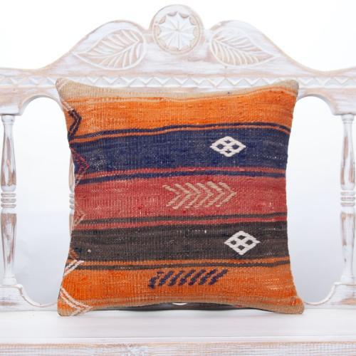 """Cottage Anatolian Colorful Kilim Pillow 16"""" Striped Sofa Decor Throw"""