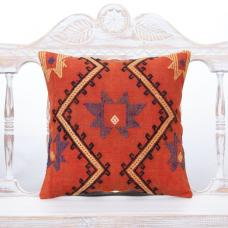 "Cottage Chic Vintage Kilim Pillow 16x16"" Embroidered Anatolian Cushion"