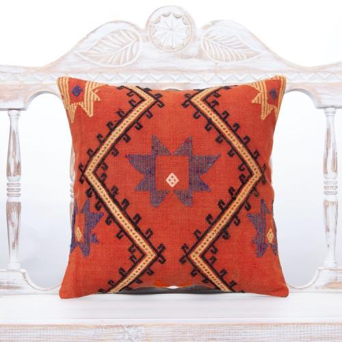 "Cottage Chic Vintage Kilim Pillow 16x16"" Embroidered Anatolian Cushion"