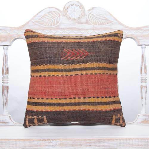 Earthy Anatolian Handmade Cushion Striped Vintage Kilim Throw Pillow