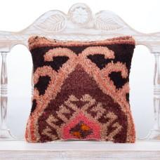 "Eastern Turkish Rug Pillow 16x16"" Vintage Cottage Decor Sofa Throw"
