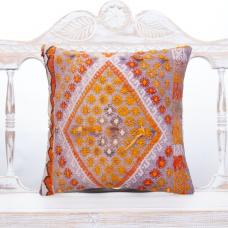 "Embroidered Boho Chic Throw Pillow 16x16"" Violet & Orange Kilim Cushion"