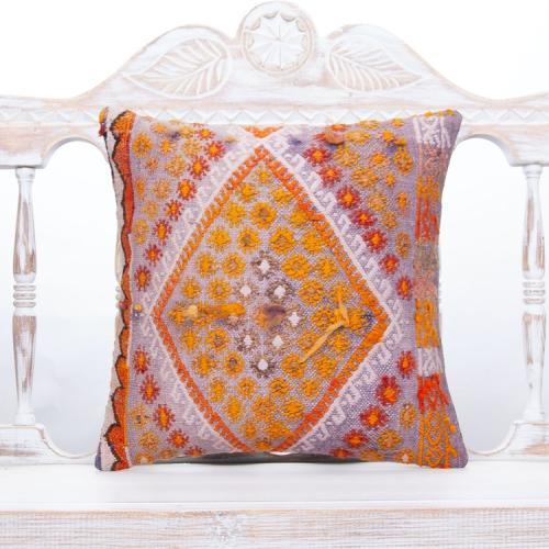 "Embroidered Boho Chic Throw Pillow 16x16"" Violet & Orange Kilim Cushion"