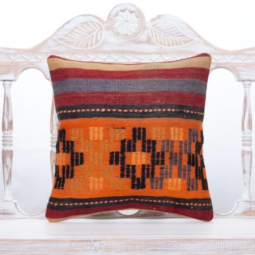 Embroidered Vintage Kilim Pillow 16x16 Orange Colors Decorative Cushion