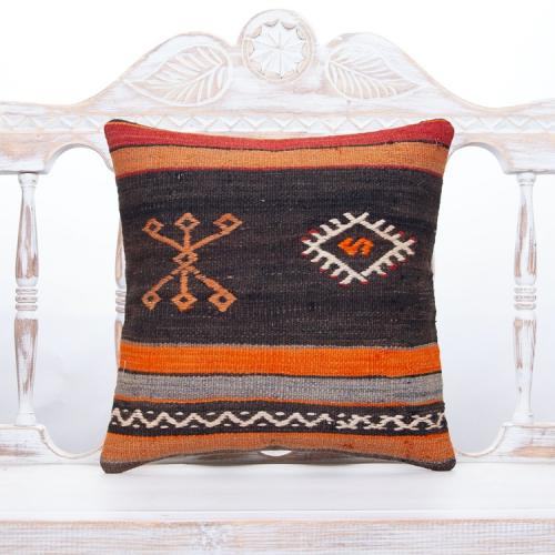 "Ethnic Decorative Throw Pillow 16x16"" Vintage Anatolian Kilim Cushion"