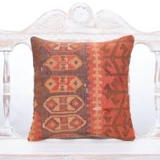 "Faded Antique Oriental Kilim Pillow Square 16"" Tribal Turkish Cushion"