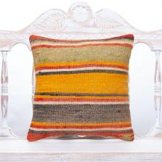 Faded Colorful Throw Pillow 16x16 Striped Vintage Turkish Kilim Cushion