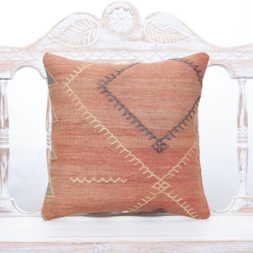 "Faded Turkish Kilim Pillowcase 16x16"" Square Vintage Decor Throw Pillow"