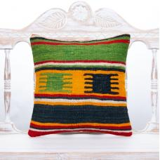 "Green Striped Nomadic Kilim Pillow 16x16"" Rustic Home Decor Sofa Throw"